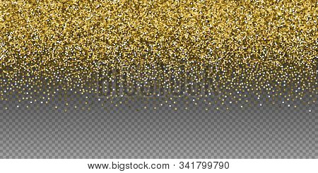 Round Gold Glitter Luxury Sparkling Confetti. Scattered Small Gold Particles On Transparent Backgrou