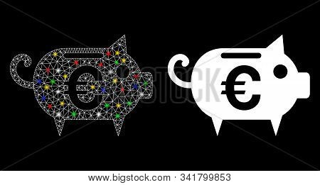 Flare Mesh Euro Piggy Bank Icon With Glow Effect. Abstract Illuminated Model Of Euro Piggy Bank. Shi