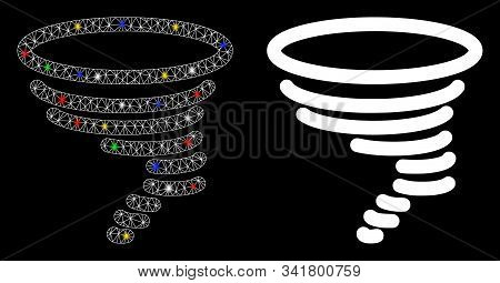 Flare Mesh Tornado Icon With Glare Effect. Abstract Illuminated Model Of Tornado. Shiny Wire Frame T