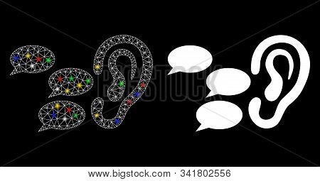 Glowing Mesh Listen Gossips Icon With Sparkle Effect. Abstract Illuminated Model Of Listen Gossips.