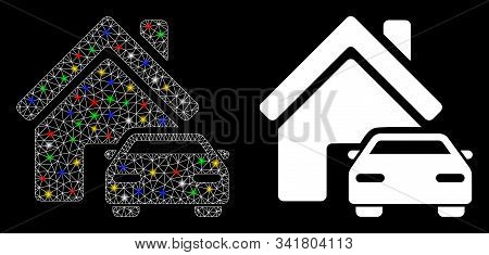 Glossy Mesh Property Icon With Lightspot Effect. Abstract Illuminated Model Of Property. Shiny Wire