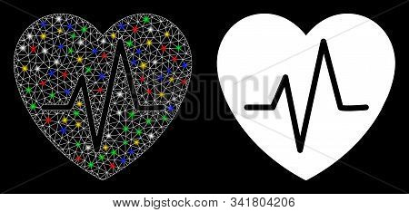 Glowing Mesh Cardiology Heart Pulse Icon With Glitter Effect. Abstract Illuminated Model Of Cardiolo