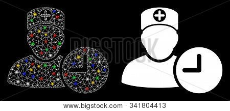 Flare Mesh Doctor Appointment Clock Icon With Sparkle Effect. Abstract Illuminated Model Of Doctor A