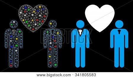 Flare Mesh Gay Lovers Icon With Sparkle Effect. Abstract Illuminated Model Of Gay Lovers. Shiny Wire