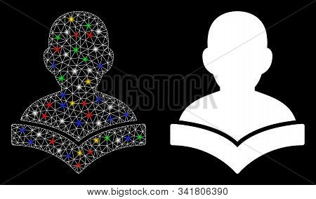 Flare Mesh Reader Student Icon With Lightspot Effect. Abstract Illuminated Model Of Reader Student.