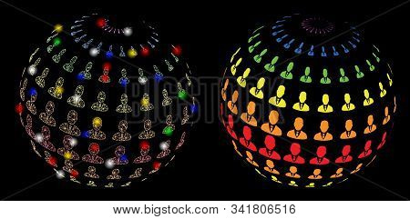 Glossy Mesh Businessman Abstract Sphere Icon With Glitter Effect. Abstract Illuminated Model Of Busi