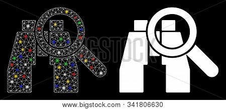 Glossy Mesh Binoculars Find Tools Icon With Glitter Effect. Abstract Illuminated Model Of Binoculars