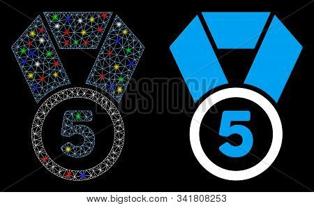 Bright Mesh 5th Place Medal Icon With Glow Effect. Abstract Illuminated Model Of 5th Place Medal. Sh