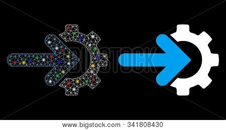 Bright Mesh Integration Gear Icon With Sparkle Effect. Abstract Illuminated Model Of Integration Gea