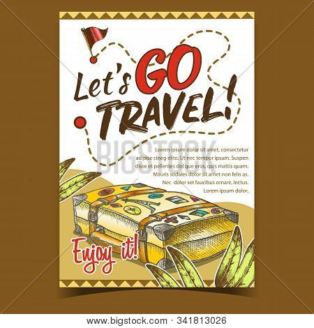 Travel Valise Luggage With Stickers Poster Vector. Lying Old Tourist Valise Container For Things And
