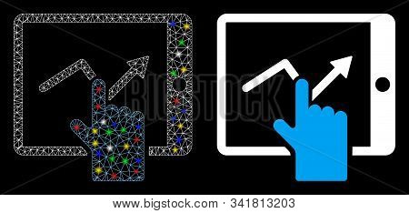 Flare Mesh Tap Trend On Pda Icon With Glow Effect. Abstract Illuminated Model Of Tap Trend On Pda. S