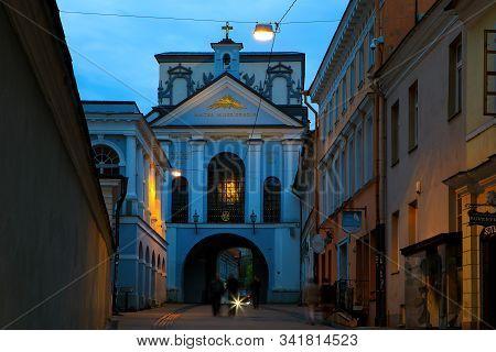 Vilnius, Lithuania - April 24, 2018: Ausros Vartai (ostra Brama, Gate Of Dawn) Chapel In The Evening