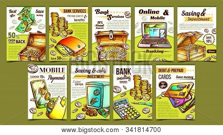 Banking Financial Collection Banners Set Vector. Debit And Credit Cards, Laptop And Pen, Phone And C