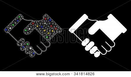 Glossy Mesh Agreement Icon With Glow Effect. Abstract Illuminated Model Of Agreement. Shiny Wire Fra