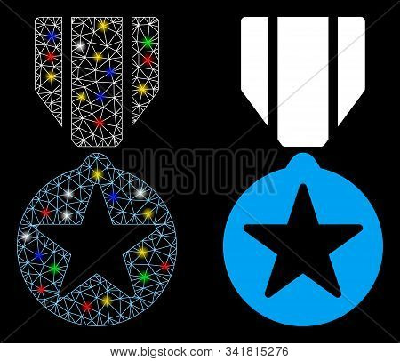 Glowing Mesh Army Star Award Icon With Glow Effect. Abstract Illuminated Model Of Army Star Award. S