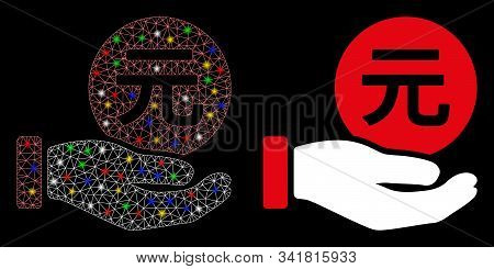 Flare Mesh Renminbi Yuan Coin Payment Icon With Sparkle Effect. Abstract Illuminated Model Of Renmin