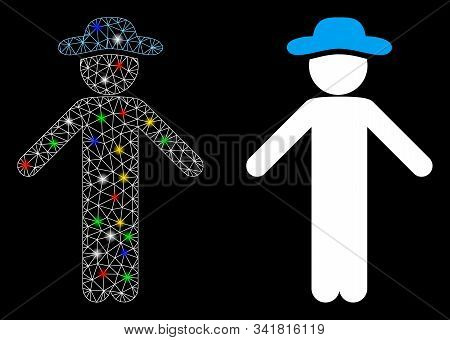 Glossy Mesh Gentleman Apology Icon With Sparkle Effect. Abstract Illuminated Model Of Gentleman Apol