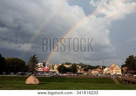 Kaunas, Lithuania - July 14, 2018: Rainbow Over Kaunas Cityscape With Former Fluxus Ministry Buildin