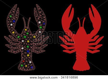 Glowing Mesh Lobster Icon With Lightspot Effect. Abstract Illuminated Model Of Lobster. Shiny Wire C