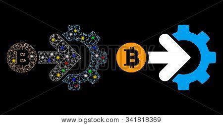 Glossy Mesh Bitcoin Integration Gear Icon With Sparkle Effect. Abstract Illuminated Model Of Bitcoin