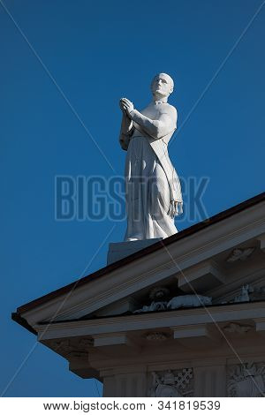 Sculpture Of St Stanislaus On The Pediment Of Vilnius Cathedral, Vilnius, Lithuania