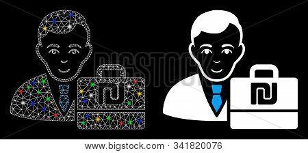 Flare Mesh Shekel Accounter Icon With Glitter Effect. Abstract Illuminated Model Of Shekel Accounter