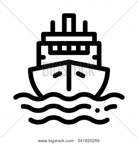 Cruise Vessel Icon Vector. Outline Cruise Vessel Sign. Isolated Contour Symbol Illustration