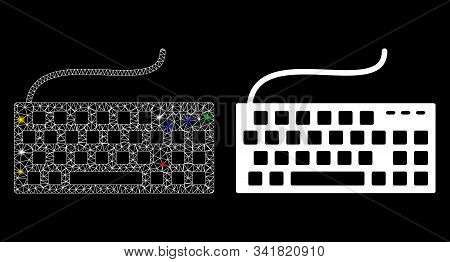 Bright Mesh Wired Keyboard Icon With Lightspot Effect. Abstract Illuminated Model Of Wired Keyboard.