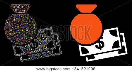 Glossy Mesh Capital Icon With Sparkle Effect. Abstract Illuminated Model Of Capital. Shiny Wire Carc