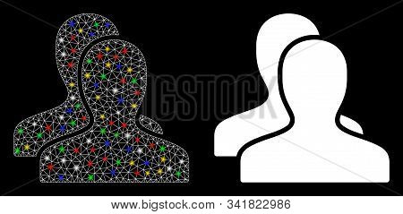 Glowing Mesh Clients Icon With Sparkle Effect. Abstract Illuminated Model Of Clients. Shiny Wire Fra