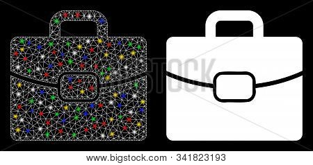 Glowing Mesh Briefcase Icon With Sparkle Effect. Abstract Illuminated Model Of Briefcase. Shiny Wire