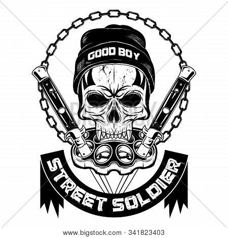 Vector Image Of A Skull In A Knitted Hat Against Brass Knuckles And Flick Knives. Youth Underground