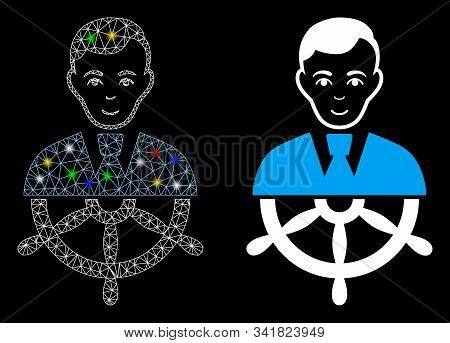 Bright Mesh Captain Icon With Sparkle Effect. Abstract Illuminated Model Of Captain. Shiny Wire Fram