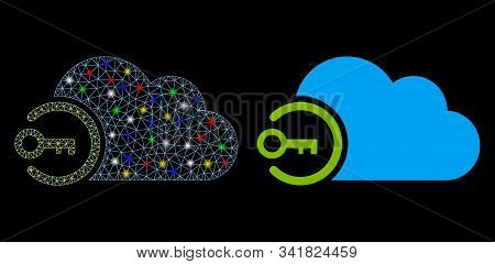 Glowing Mesh Cloud Login Icon With Lightspot Effect. Abstract Illuminated Model Of Cloud Login. Shin