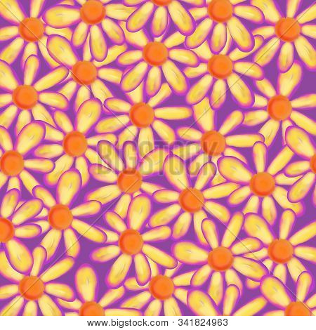 Digitally Created Pretty Daisy Flower Backdrop Design With Watercolor Feel.