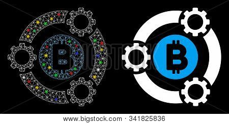 Glowing Mesh Bitcoin Pool Collaboration Icon With Glow Effect. Abstract Illuminated Model Of Bitcoin