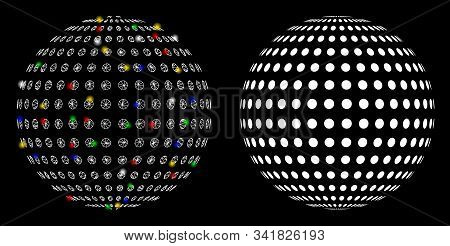Flare Mesh Abstract Dotted Sphere Icon With Glow Effect. Abstract Illuminated Model Of Abstract Dott
