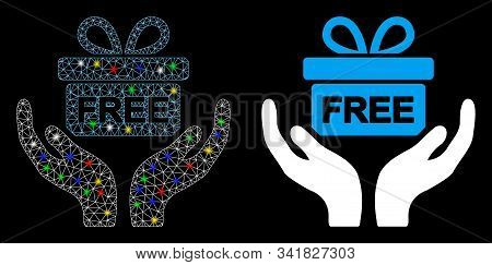Flare Mesh Present Give Hands Icon With Sparkle Effect. Abstract Illuminated Model Of Present Give H