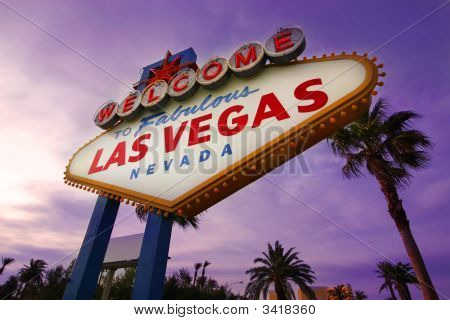 A famous landmark that welcomes visitors as they enter Las Vegas. poster