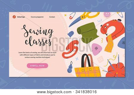 Web Banner Layout For Sewing Classes, Online Course Or Workshop. Hand Drawn Illustrations Of Sewing
