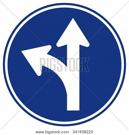 Proceed Straight Or Turn Right  Road Sign,vector Illustration, Isolate On White Background Label. Ep