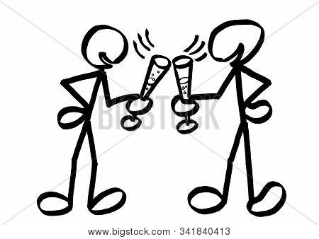 Two Drawn Stick Men Chinking Champagne Glasses