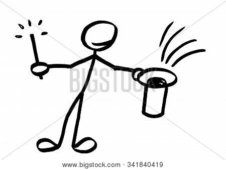 Drawing Of Stick Man Magician With Magic Wand In One Hand Offering A Sight Into Upside Down Empty To