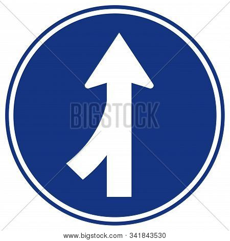 Merge Join Way Left Traffic Road Sign, Vector Illustration, Isolate On White Background Label. Eps10