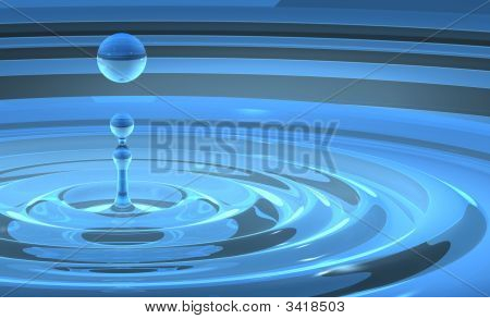 Water Splash With Rising Droplet