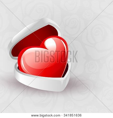 Bright Illustration With A White Casket And A Red Heart
