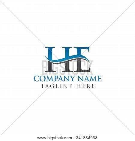 He Letter Type Logo Design Vector Template. Abstract Letter He Logo Design