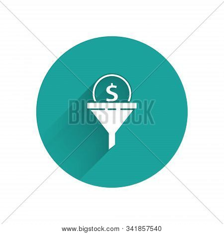 White Lead Management Icon Isolated With Long Shadow. Funnel With Money. Target Client Business Conc
