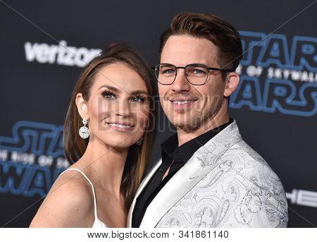 LOS ANGELES - DEC 16:  Matt Lanter and Angela Lanter arrives for the ÔStar Wars: The Rise of SkywalkerÕ Premiere on December 16, 2019 in Hollywood, CA