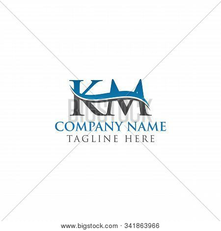 Initial Km Letter Logo Design Vector Template. Abstract Letter Km Logo Design